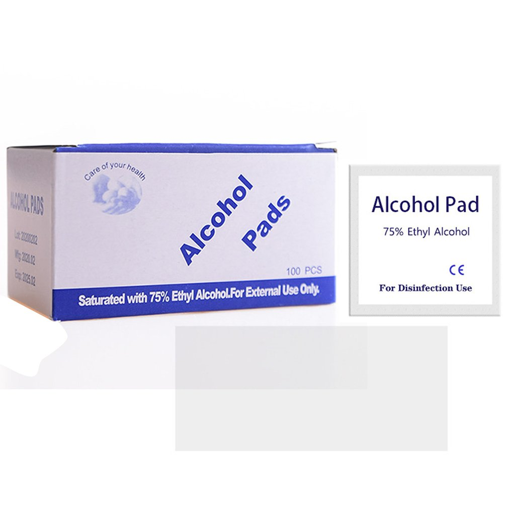 100pcs/lot 75% Alcohol Prep Swap Pad Wet Wipe For Antiseptic Skin Cleaning Care Jewelry Mobile Phone Cleaning Household Cleaner