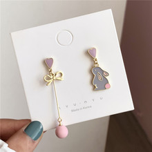 Asymmetry of sweet love fashion earrings rabbit maiden temperament contracted pearl earring jewelry accessories