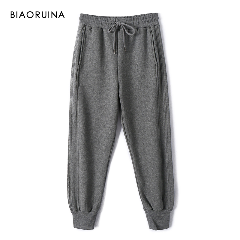 BIAORUINA Women's Solid Casual All-match Fleece Liner Warm Thick Pant Ankle Length Female High Waist Winter Pant Active Wear