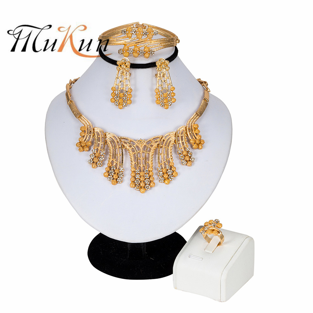 2019 Dubai Gold-color Bridal Wedding Jewelry Sets for Women Gold Necklace Ring African Beads Set Fashion Jewellery