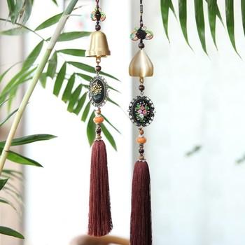 Kreatywny Diy haftowane rękodzieło starożytne miedziane dzwonki wiszące dekoracje do domu dekoracje wiatrowe tanie i dobre opinie Chinese style series Kanwa CN (pochodzenie) 100 COTTON Chinese style classical PAPER BAG Linen