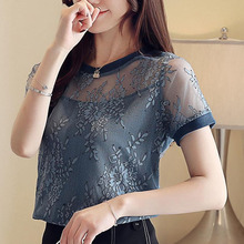 Womens tops and blouses 2019 ladies chiffon blouse korean fashion clothing voile Short Spliced Solid blusas 0240
