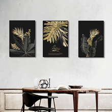 Abstract Golden Leaf Plant Wall Art Canvas Painting Nordic Posters and Prints Pictures for Living Room Modern Home Decor