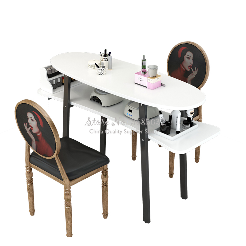 80cm Nordic Retro Style Nail Tables & Stools Durable Single Manicure Desk And Chair Salon Furniture