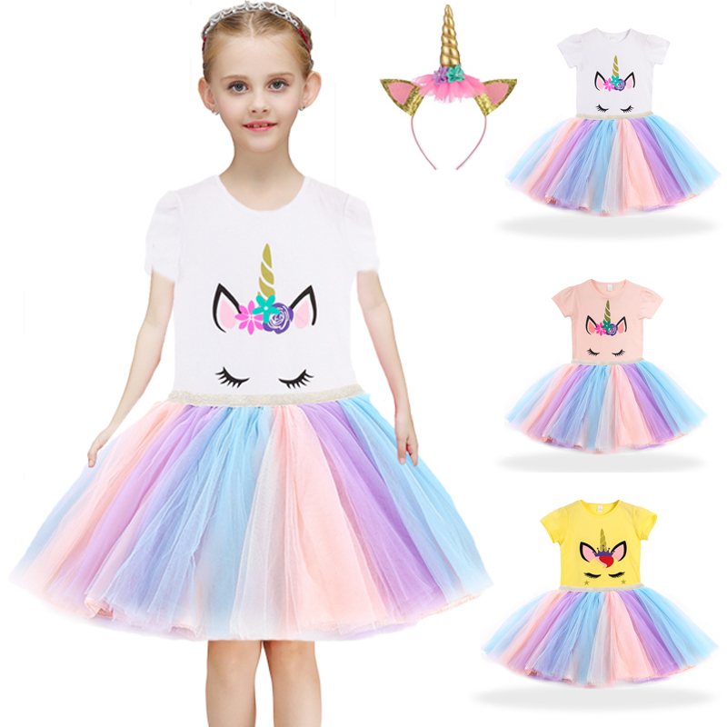 1-8 Years Girls Dresses Kids Cartoon Vestidos Children 2021 Summer Dress Kids Dress for Girls Short Sleeve Unicorn Dresses 3 Pcs