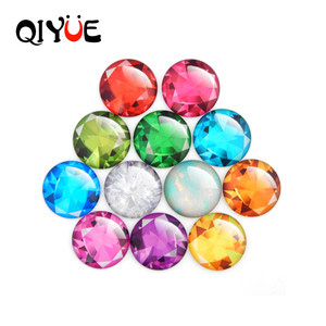 QIYUE Creative 12 Patterns Color Ston Magnetic Crystal Round Glass Fridge Sticker Whiteboard Sticker Home Decoration Accessories(China)