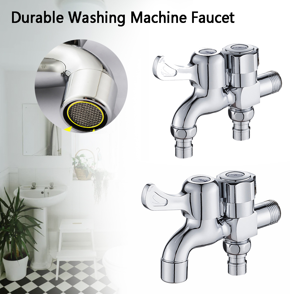 Brass Sink Bathroom Connector Garden Laundry Washing Machine Faucet Modern Bidet Water Tap Double Outlet Polished Spout Durable