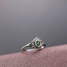 Cor de prata do vintage anel de cristal verde nupcial noivado anéis de casamento aniversário anel de promessa jóias finas presentes