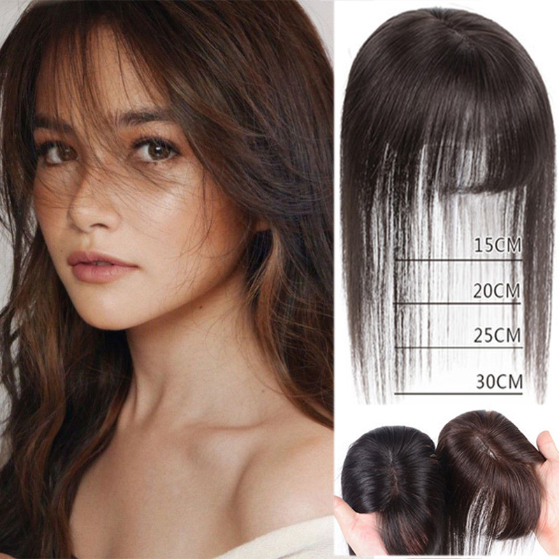 LUPU Synthetic Hair Toupee Hairpiece With Bangs Clip In Natural Fake Hair Topper With Heat Resistant For Women