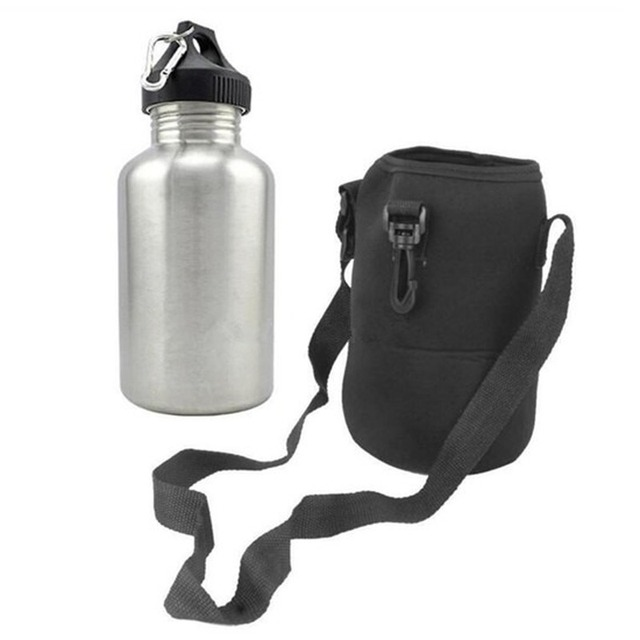 304 Stainless Steel 2000ml Hiking Sports Drink Water Bottle 2L with New Hook 1 Set Protector Bag 2