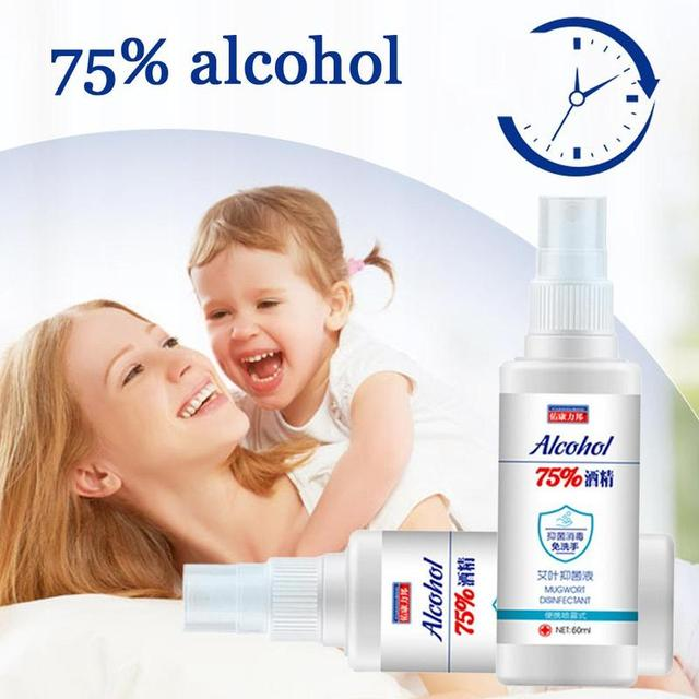 60ml Disinfection Rine-free Hand Sanitizer 75% Alcohol Spray Portable Disposable Prevention Hand Sanitizer 3