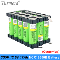 3s 12v battery 18650 pack ncr18650b 3400mah for 3s5p 17Ah welding battery for e bike battery garden tool with holder customize