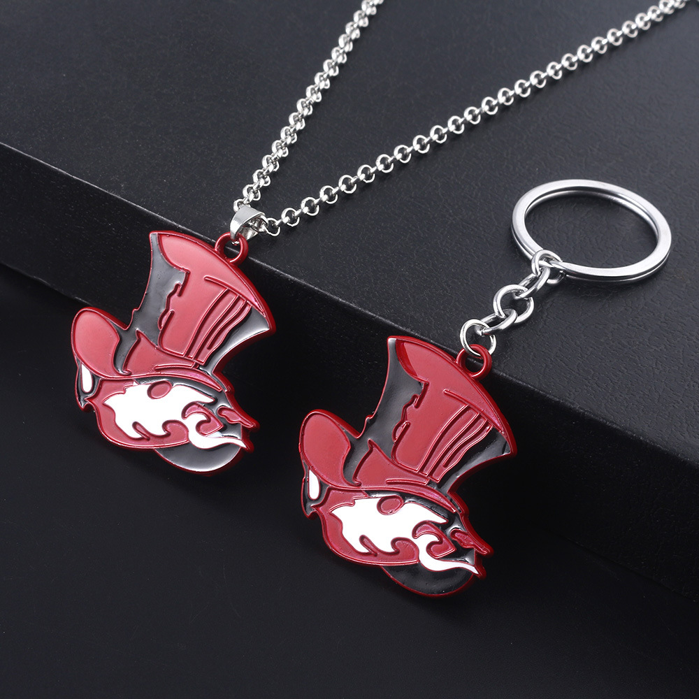 Japanese Game Persona 5 P5 Keychain Take Your Heart Logo Red Hat enamel pendant car key holder chaveiro women bag accessories image