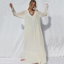 купить Retro Long Bohemia Dress Women Solid Full Sleeve V-Neck Maxi Autumn Dress Fashion Plus Size Casual Beach Vestidos New Robe Femme дешево