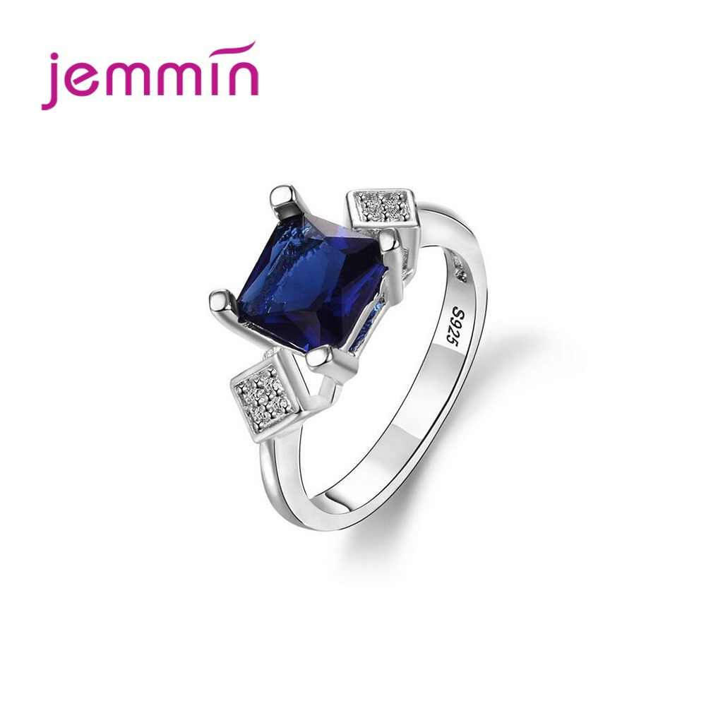 Top Quality 925 Sterling Silver Ring for Women Girls Wedding Engagement Square Blue Cubic Zirconia Prong Setting Trendy Jewelry