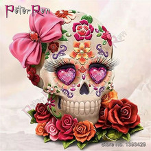 DIY resin Diamond Painting Skull rose 3D Square Mosaic Embroidery 5D Round rhinestone crystal Drill Full Cross Stitch Sticker