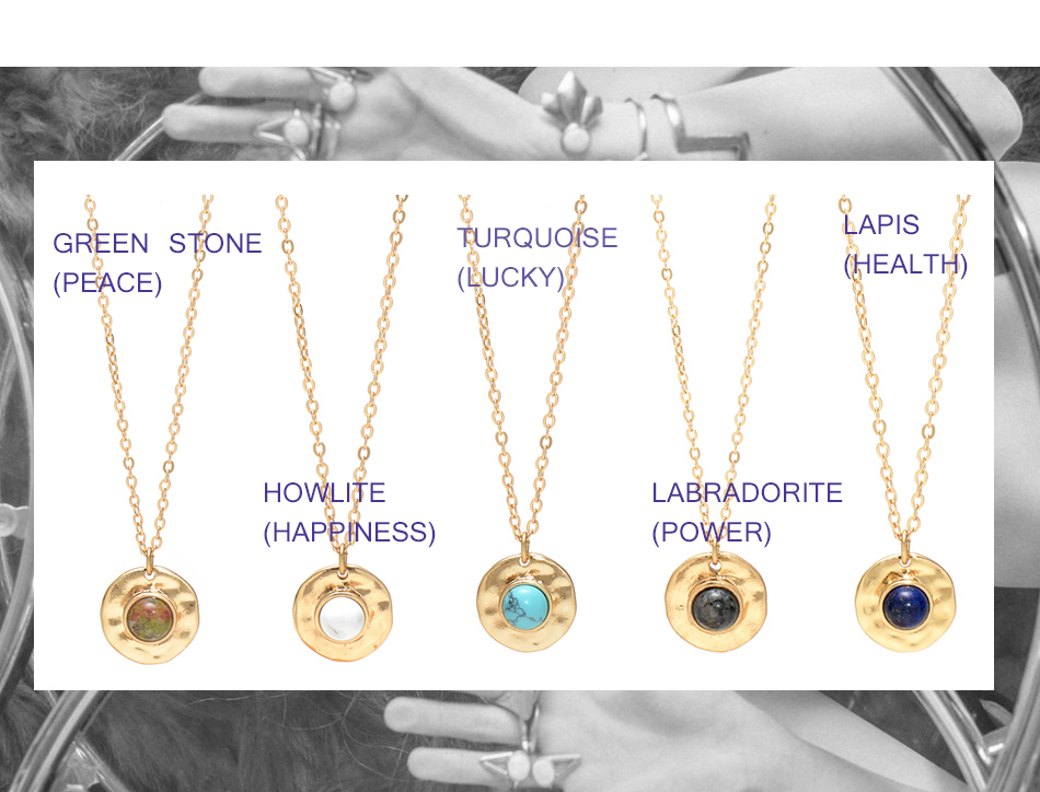 Wild&Free Multi Colors Stone Pendant Necklace For Women Girls Boho Round Charming Necklaces Jewelry Best Friend Gifts 4
