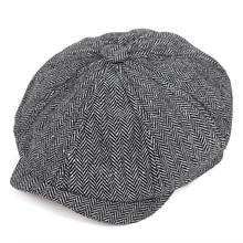 Стиль; Новинка; в стиле ретро; в кепка газетчика Для мужчин Восьмиугольные шляпы черного цвета в британском стиле художников шапки; сезон осень-зима береты с узором «елочка», кепки с плоским верхом