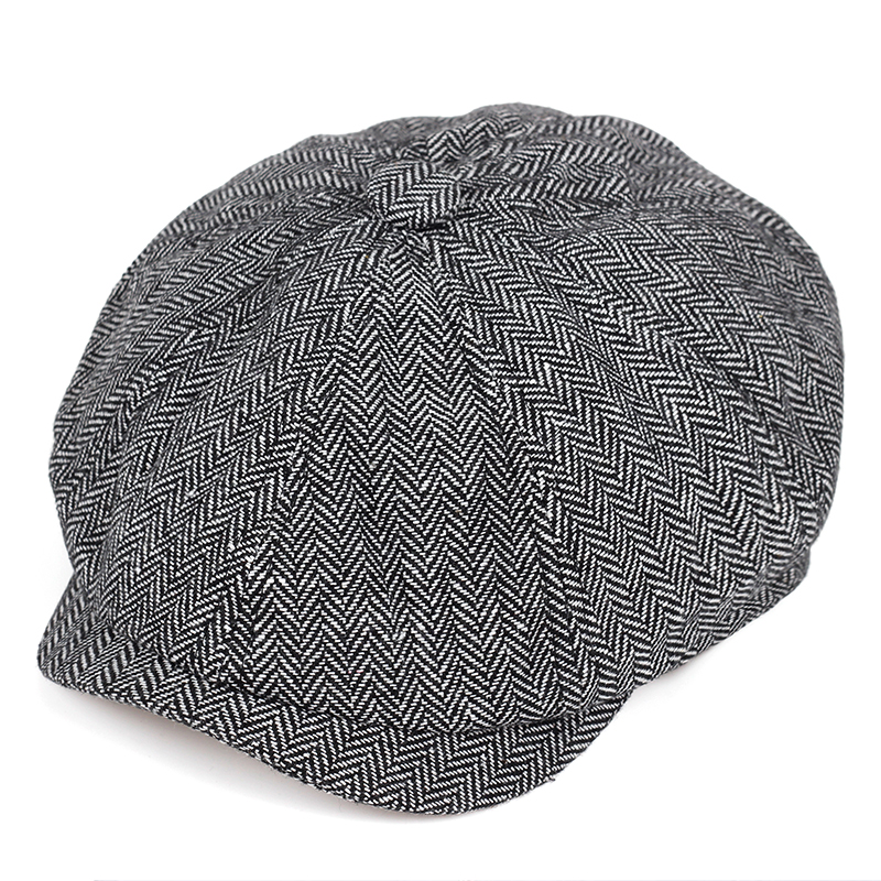 2019 New Retro Newsboy Caps Men Octagonal Hats Black British Painters Hats Autumn Winter Berets Herringbone Flat Caps
