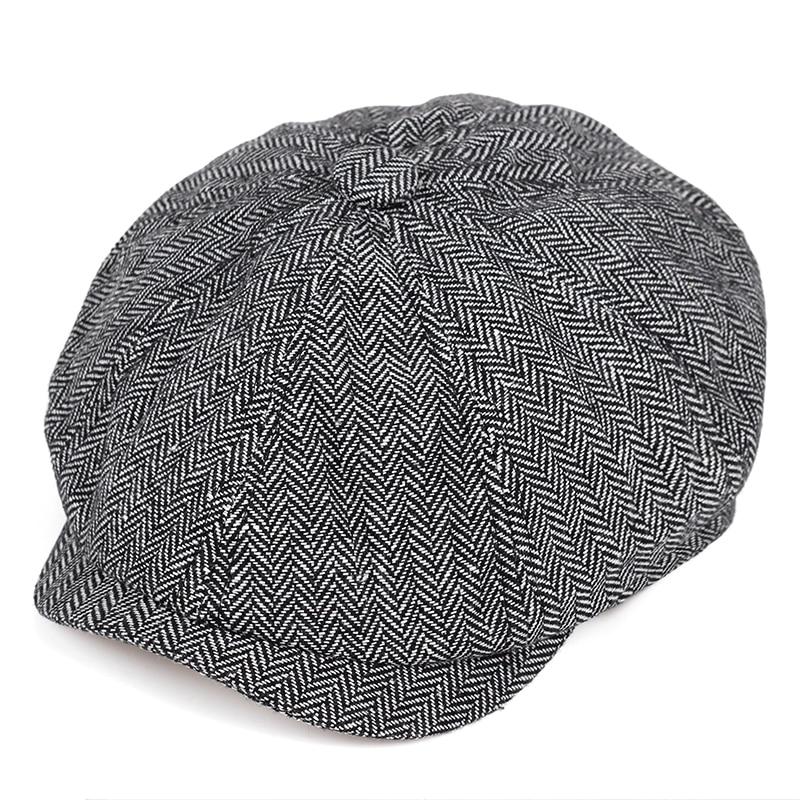 2019 New Retro Newsboy Caps Men Octagonal Hats Black British Painters Hats Autumn Winter Berets Herringbone Flat Caps
