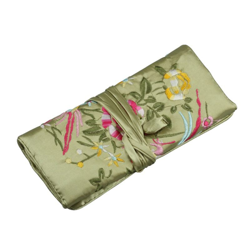 Oriental Silk Jewellery Roll Wrap Jewelry Pouch Organizer Travel Storage Case T4MD