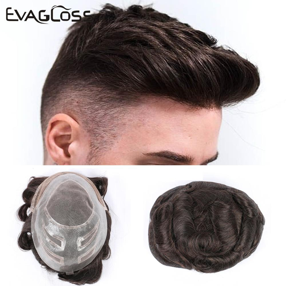 EVAGLOSS Fast Shipping VERSALITE Style 8*10 Replacement Hairpieces Indian Human Hair Swiss Lace Mono Wig Hair Men's Toupee