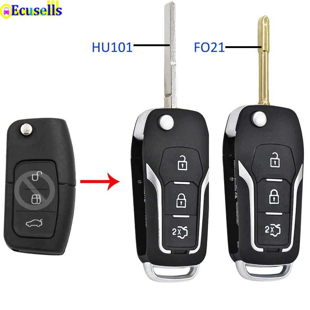 3 кнопки модифицированный откидная оболочка ключа дистанционного управления чехол Брелок для FORD FOCUS FIESTA C-MAX MONDEO S-MAX KUGA MONDEO HU101 лезвие