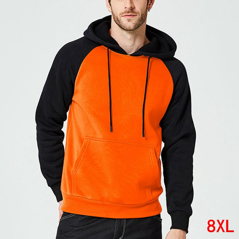 Plus Size 6XL 7XL 8XL Men's Large Size Color Matching Hooded Sweatshirt Autumn And Winter Long Sleeve Pocket Fleece Warm Hip Hop