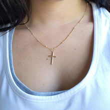 AILEND 2017 Summer Gold Chain Cross Necklace Small Gold Cross Religious Jewelry Women's necklace(China)