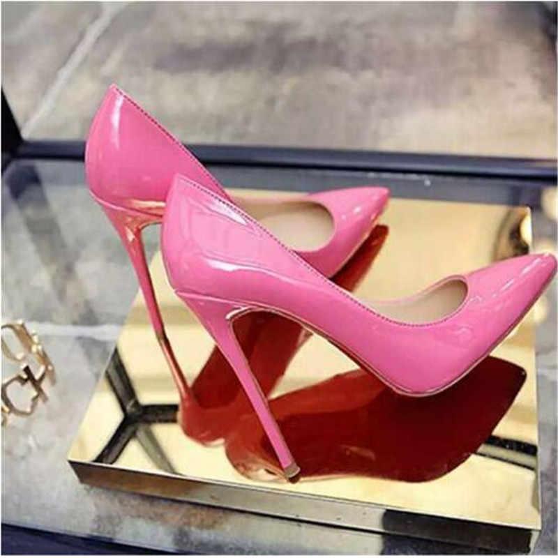 Ayakkabı kadın yüksek topuklu pompalar 11cm Tacones sivri burun Stilettos Talon Femme seksi bayanlar düğün ayakkabı siyah topuklu büyük boyutu 35-44
