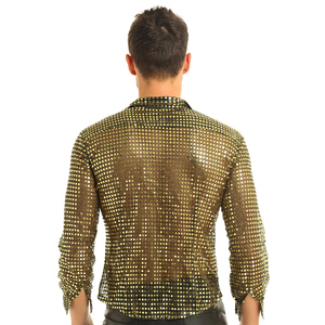 Image 3 - Mens Tuxedo Shirts Shiny Sequins See Through Mesh Long Sleeve Clubwear for Night Party Show Dancing Performance Top Shirt