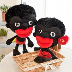 40 см смешная африканская племя Черная мягкая и плюшевая игрушка Красная губа Мягкая Милая с серьгами цветок кукла подушка игрушки для детей...