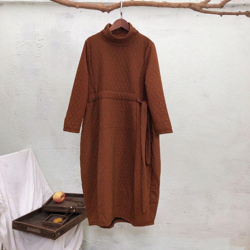 Femmes col roulé coton mélangé robe 2019 automne nouvelle couleur unie femmes Bandage Robes à manches longues robe épaisse