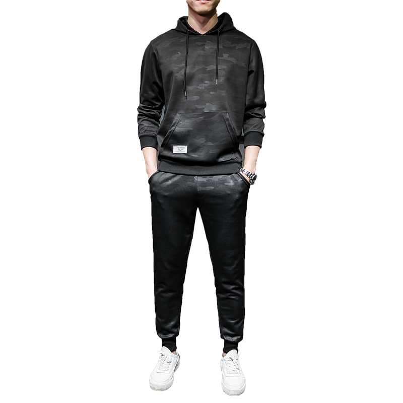Men's 2 Piece Tracksuit 2019 Autumn Winter Causal Mens Jogger SweatSuit Men Pullover Pant Hoodies Sweatshirts  Male Sportwear