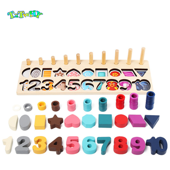 Preschool Wooden Montessori Toys Count Geometric Shape Cognition Match Baby Early Education Teaching Aids Math Toys For Children montessori teaching aids touchpad board children early education sensory teaching wooden toys educational toys