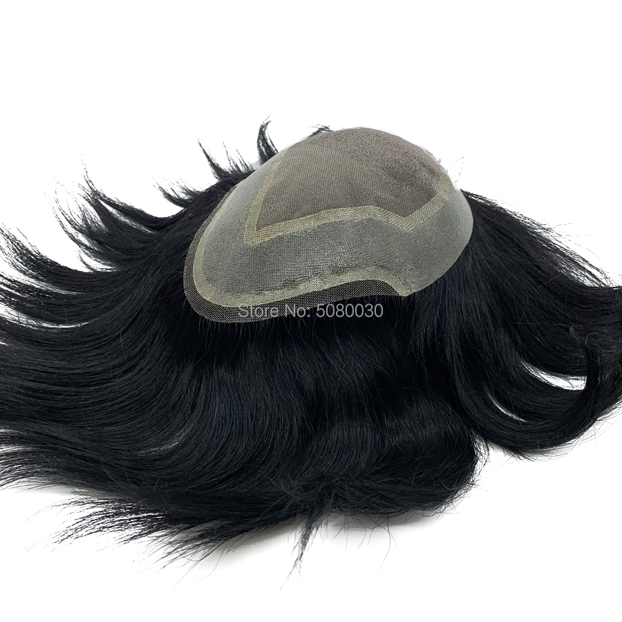 Custom made mono lace base indian human hair toupee natural hairline