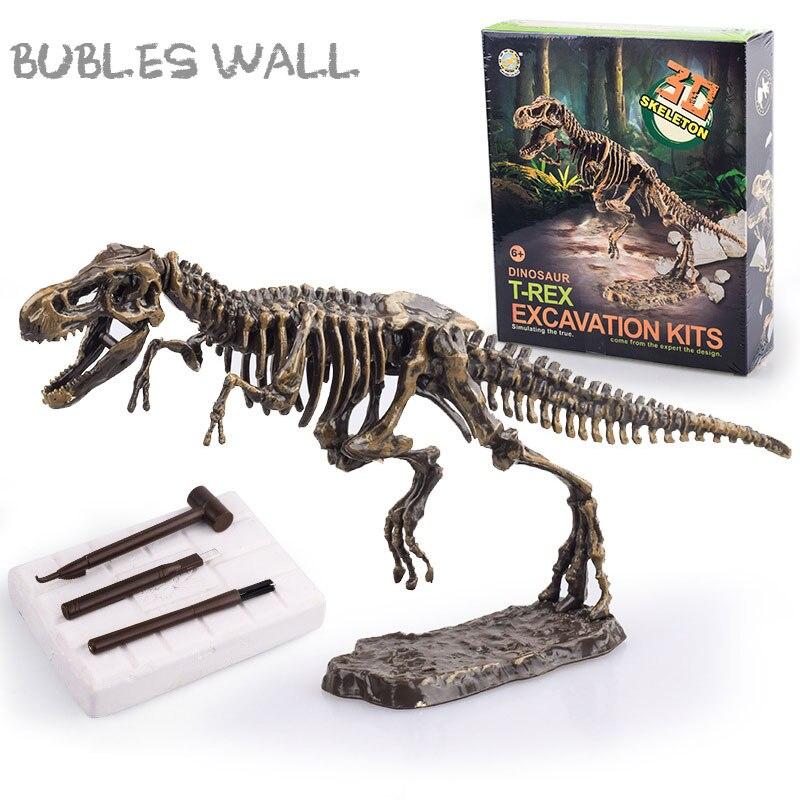 Kit de Ciencia de dinosaurio de juguete de excavación de arqueología, juego de fósil de excavación, modelos de esqueleto de mamut t-rex Stegosaurus Triceratops
