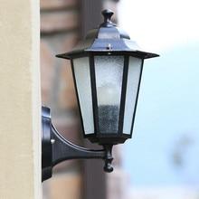 Lámpara LED de pared Vintage para exteriores, candelabro impermeable para pasillo, balcón, pasillo, cristal Hexagonal E27, accesorios de iluminación para pared