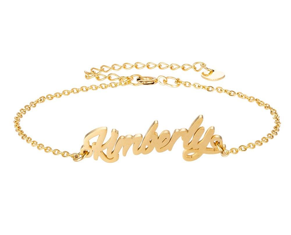 Kimberly имя браслет для женщин, ювелирные изделия для девушек, из нержавеющей стали, покрытой 18k позолоченный кулон-табличка с именем Femme Mother, по...