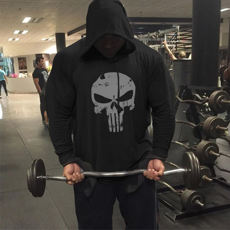 Punisher Hoodie Pullover Skull Printing Marvel Sweatshirt Long Sleeve Cotton Bodybuilding Clothing Gym Wear Fitness Sportswear