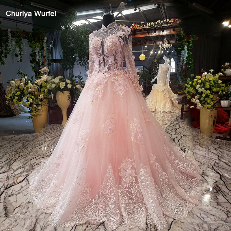 LSX08871 Stock Pink Evening Dress A-line Flowers Illusion Long Tulle Sleeve Lace Up Back Simple Formal Party Dress Ready To Wear