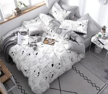 4pcs Cute Cats Bedding Set Includes Duvet Cover Flat Sheet Fitted Sheet Pillowcases Without Filler 100% Cotton 40S Fabric