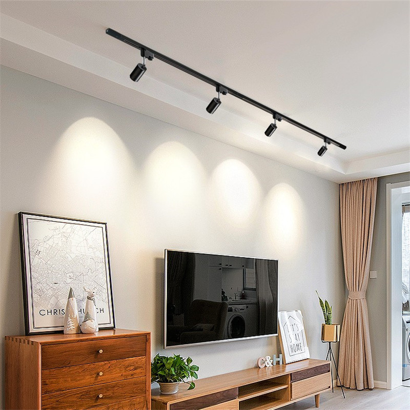 LED Ceiling Track Lights Gu10 Holder Rotatable Aluminum Angle Adjustable Rail Spotlights Showcase Lamp Cabinet Track Light
