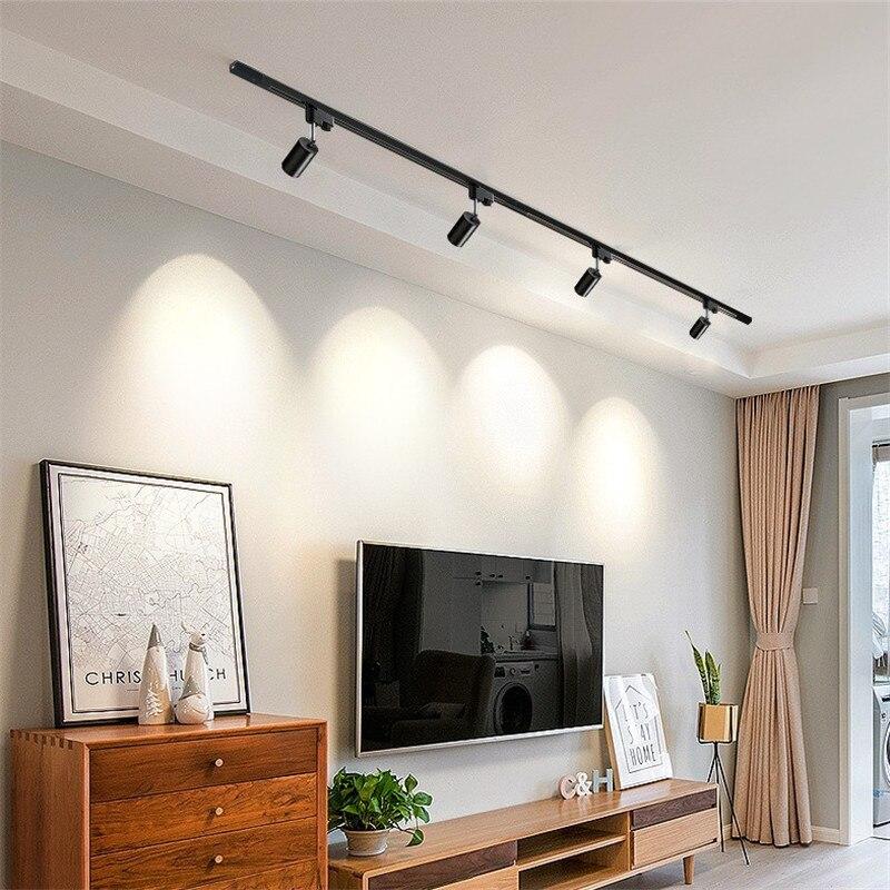 LED plafonniers Gu10 support rotatif en aluminium Angle réglable Rail projecteurs vitrine lampe armoire piste lumière