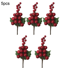 5pc Artificial Flower Red Pearl Stamen Berries Branch For Wedding Christmas Decoration DIY Valentines Day Gift Plant