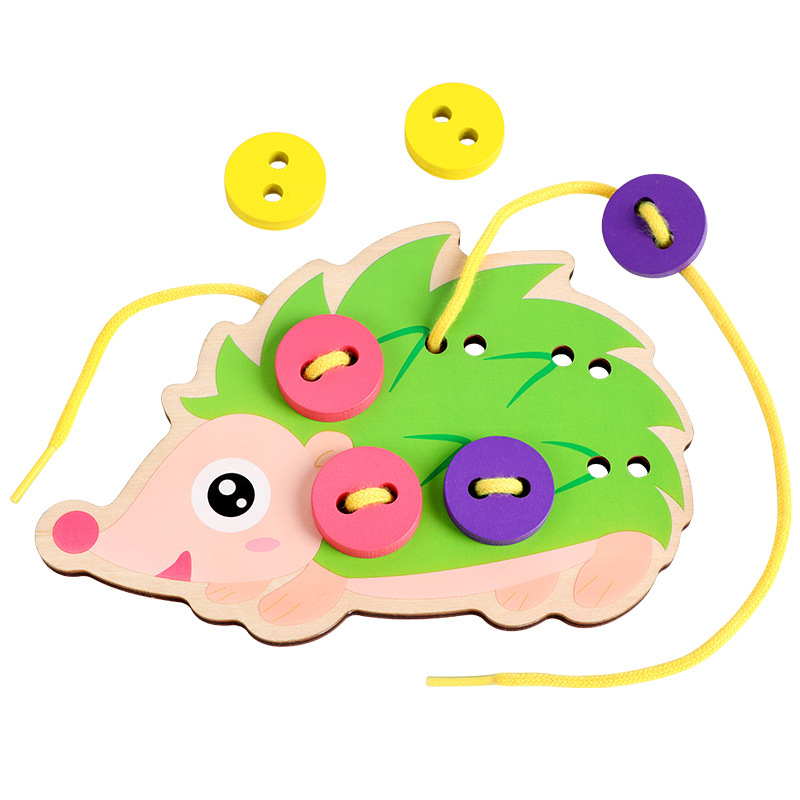 Wooden Button Lacing Stringing Beads Cute Toys With Hedgehog Board Montessori Early Educational Toy For Kids Children Fun Gift