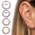 1 шт. круглое кольцо из циркона с драгоценными камнями, сгибаемое бесшовное кольцо для носа, хирургическое стальное Кристальное кольцо для у...