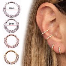 1pc redondo zircão gem anel sem costura dobrável nariz anel de aço cirúrgico cristal orelha trague cartilagem brinco piercing strass