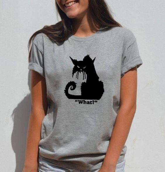 Kawaii WHAT CAT Funny T Shirt Women Harajuku Cat Tshirt Cotton Women Tops O-neck Graphic Tee Shirt Femme Black T-shirt Women