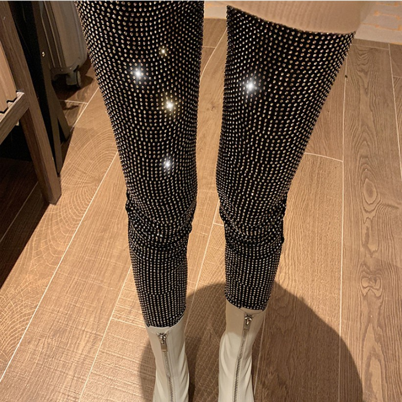 New Autumn Simple Heavy Full Hot Drilled Diamond Sparkling Tight-fit Leggings All-match Women High Waist Skinny Stretch Pants